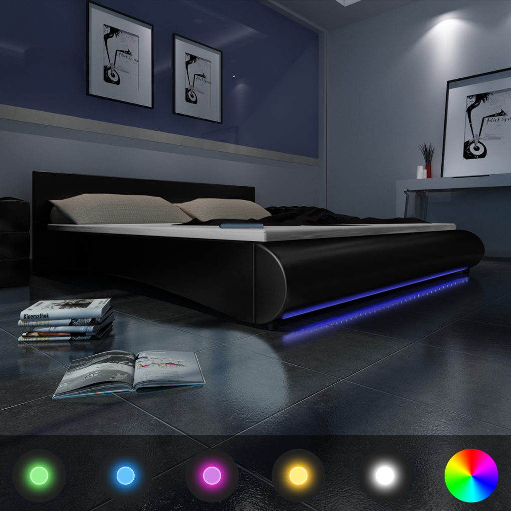 lit adulte design 2 personnes avec led integre sommier. Black Bedroom Furniture Sets. Home Design Ideas
