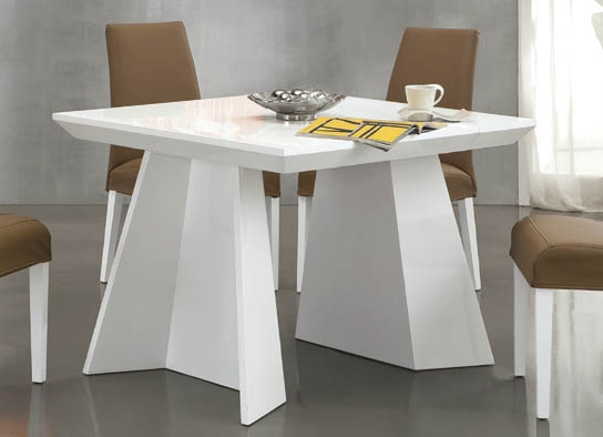 table console blanc ultra design avec rallonges vsp. Black Bedroom Furniture Sets. Home Design Ideas