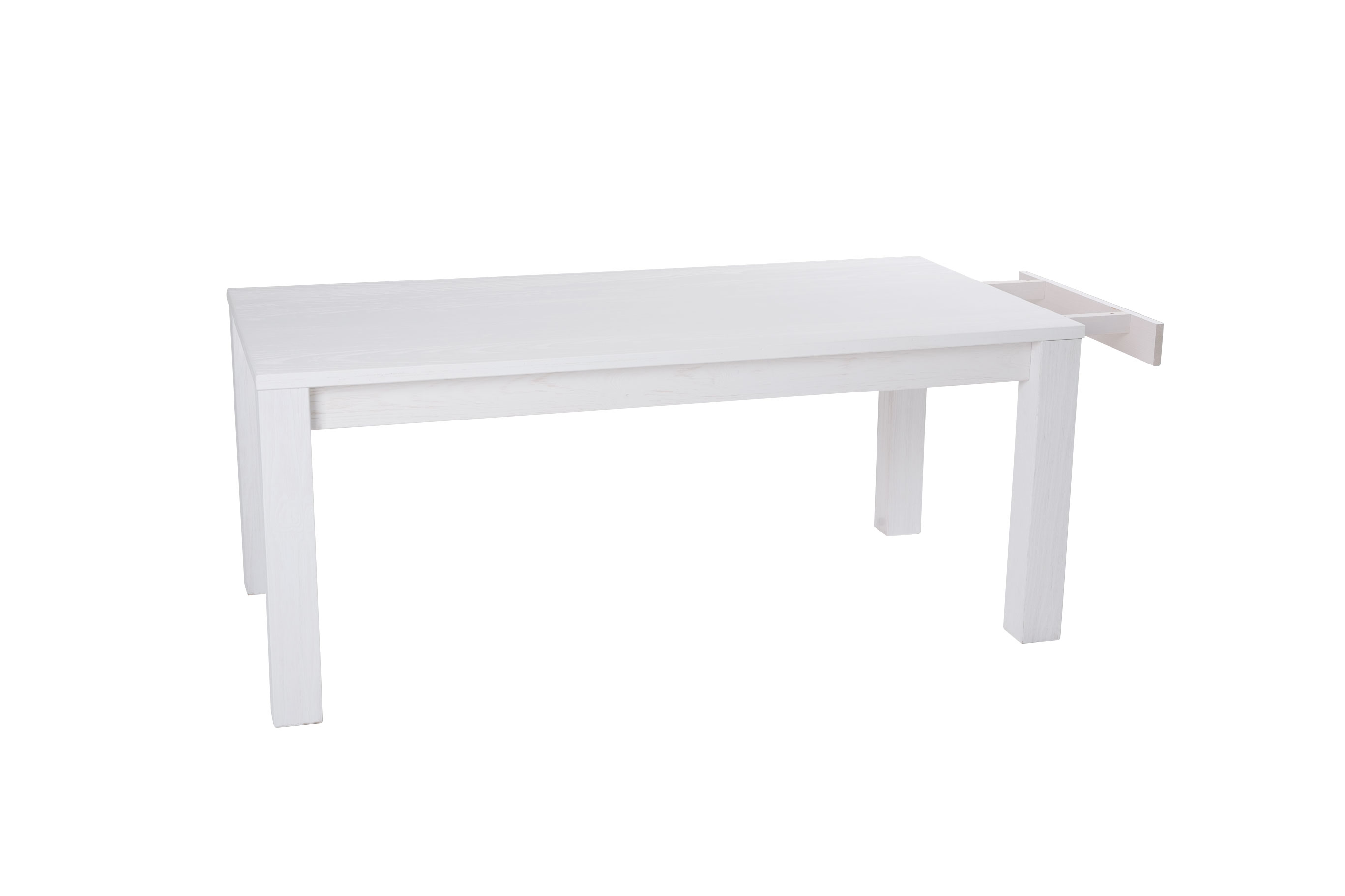 Table de s jour rectangulaire en pin massif laqu e blanc for Table sejour avec rallonge