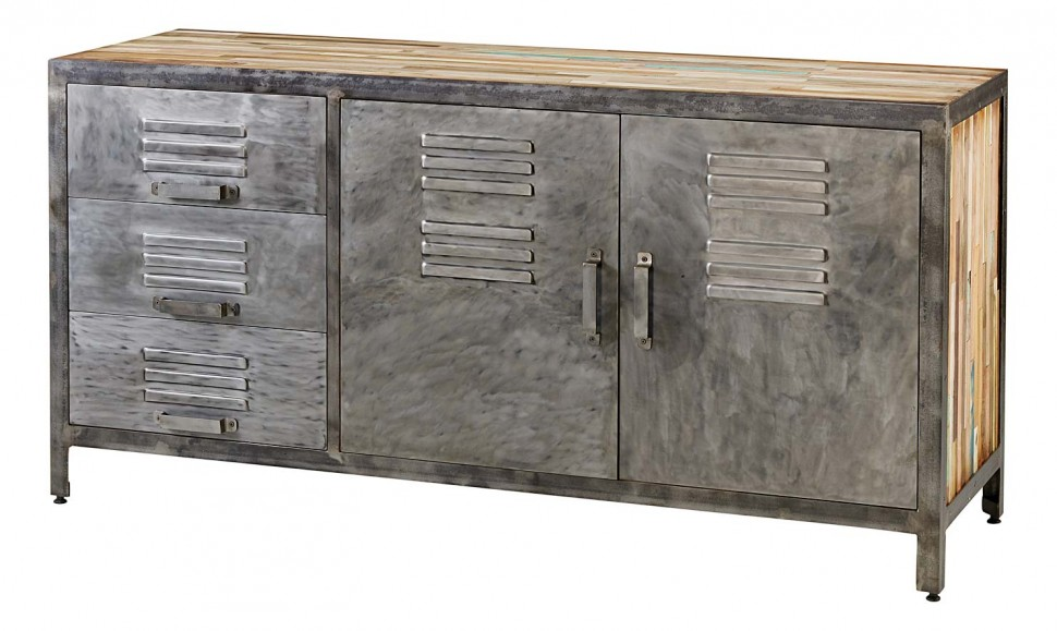 Buffet design industriel 2 portes 3 tiroirs best factory for Poignee de meuble style industriel