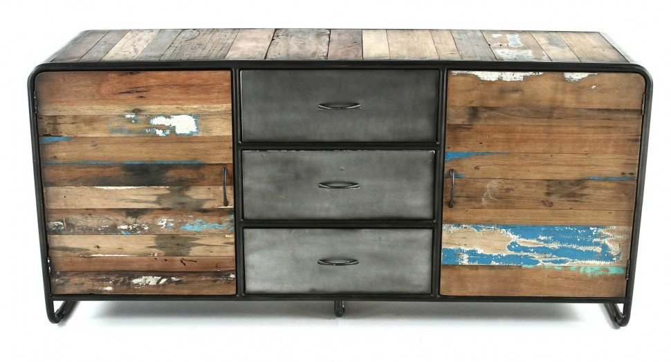 buffet style industriel vinto 2 portes 3 tiroirs bufind. Black Bedroom Furniture Sets. Home Design Ideas