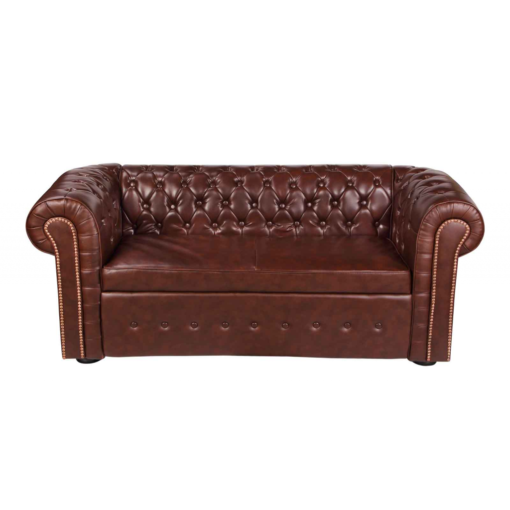 Canape cuir 2 places style chesterfield cuir blanc ou marron cpecuir chestfd - Chesterfield 2 places cuir ...