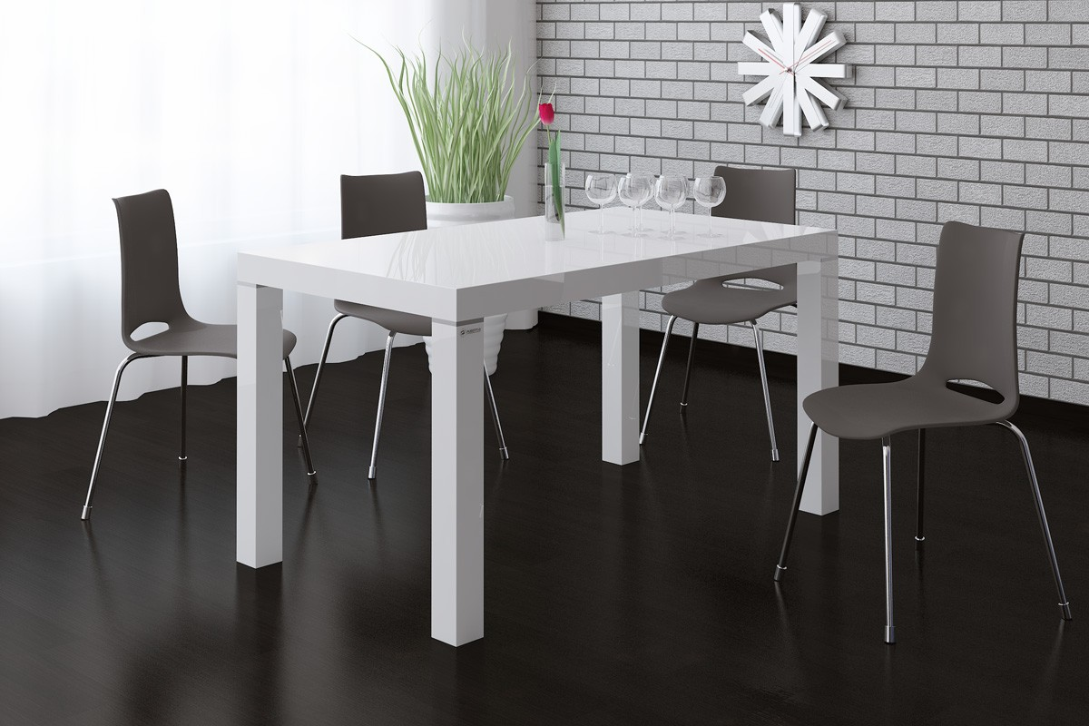 Table blanc laqu for Table salle a manger gris laque