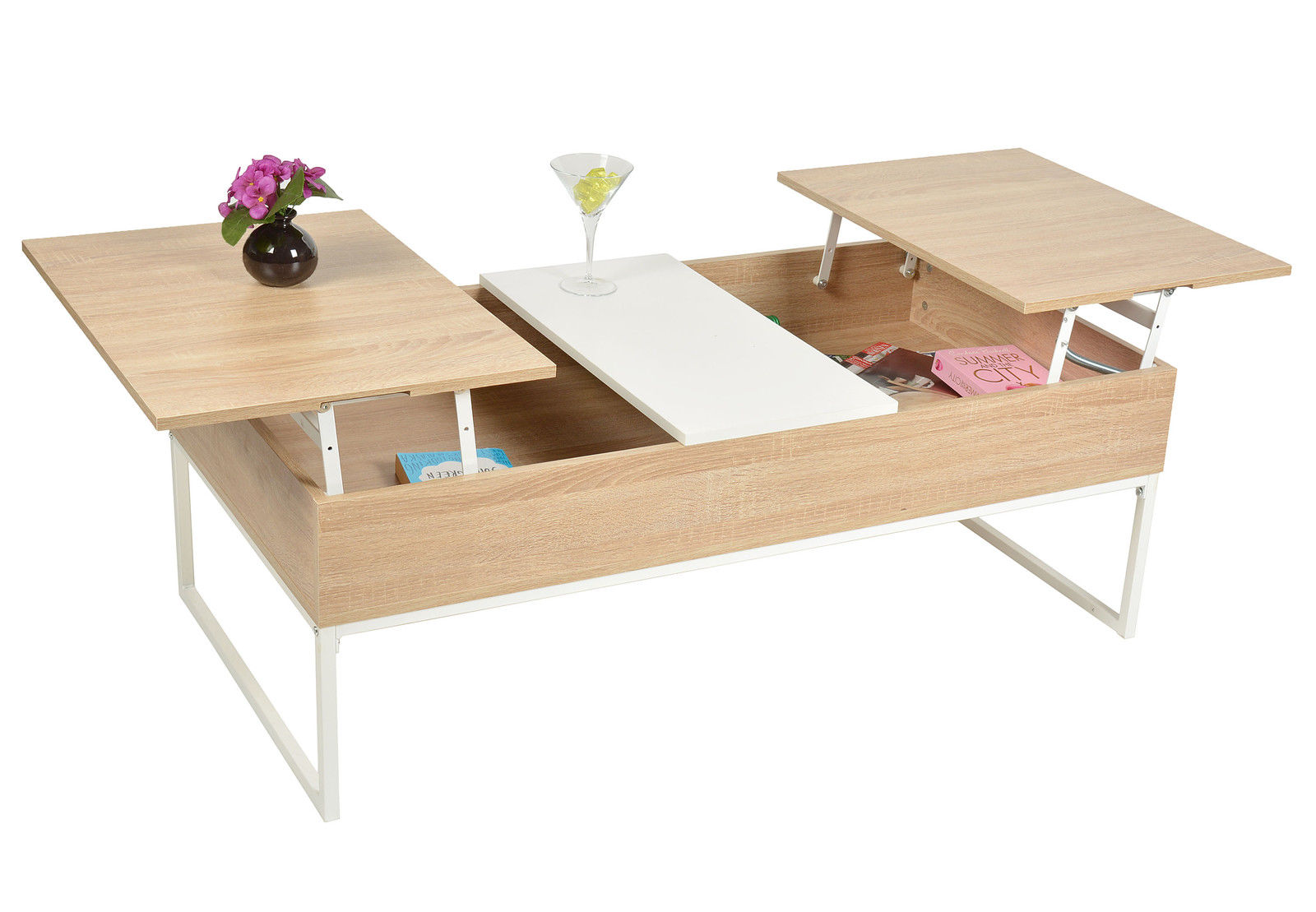 Table basse design escamotable avec plateau relevant k for Table escamotable