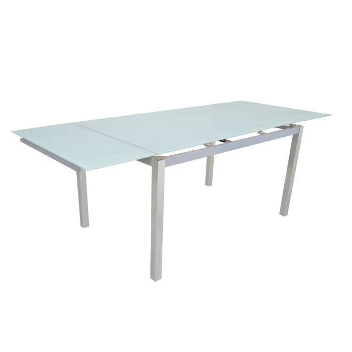 Table streamax extensible en verre blanc et pieds chromes for Table de cuisine en verre trempe