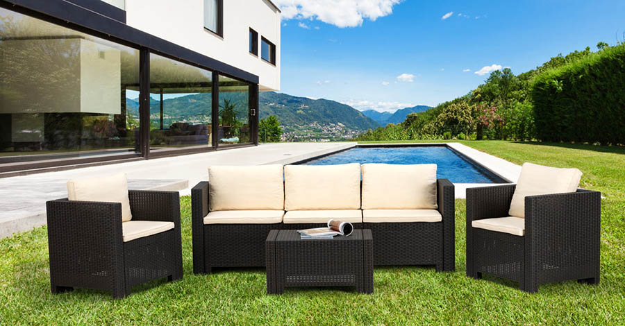 SALON DE JARDIN OUTDOOR 5 PIECES FINENZA SALJARD-RES1-PRIT : Vente ...